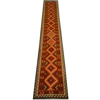 Herat Oriental Afghan Hand-woven Vegetable Dye Wool Kilim Runner (2'10 x 16'5)