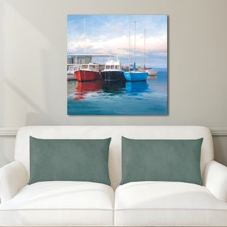 Alex Wang 'Harbor Boats' Stretched & Wrapped Canvas Wall Art