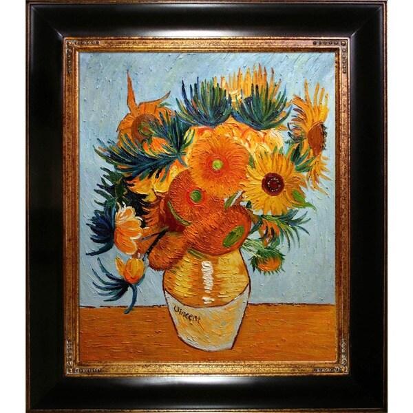 La Pastiche Original 'Sunflower Collage' Hand Painted Framed Canvas Art 20006199
