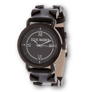 Steve Madden Triangle Studded Leather Strap Watch