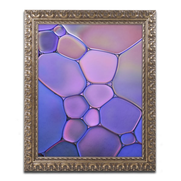 Cora Niele 'Purple Stained Glass' Ornate Framed Art
