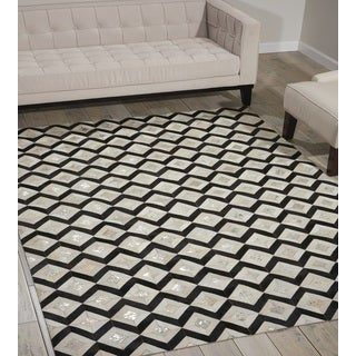 Nourison Leather Black/White Area Rug (8' x 10')