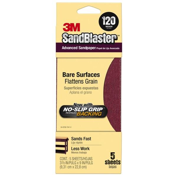 "3M 11120-G 3-2/3"" X 9"" 120 Grit Maroon Sandpaper 5-count"