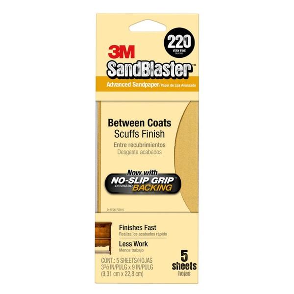 "3M 11220-G 3-2/3"" X 9"" 220 Grit Gold Sandpaper 5-count"