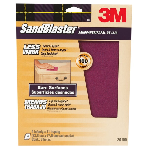"3M 20100-G 9"" X 11"" 100 Grit SandBlaster Paint Stripping Sandpaper"