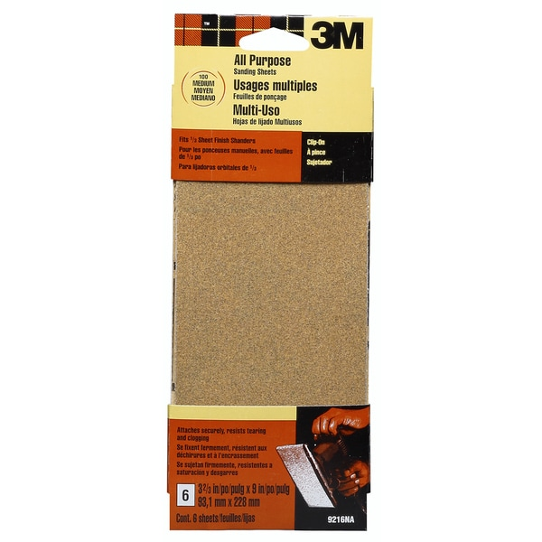 3M 9216ES Medium Finishing Sanding Sheets 6-count