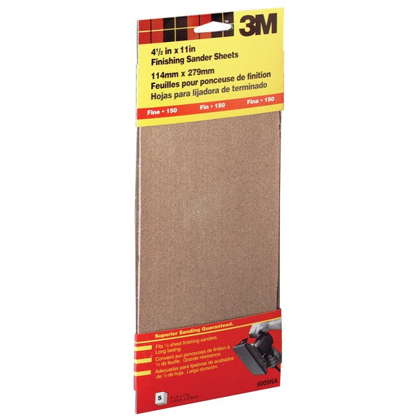 "3M 9009NA 4-1/2"" X 11"" Fine Finishing Sander Sheets Clip-On"
