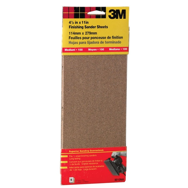 "3M 9010NA 4-1/2"" X 11"" Medium Finishing Sander Sheets Clip-On"