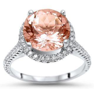 Noori 18k White Gold Round Morganite and Diamond Engagement Ring