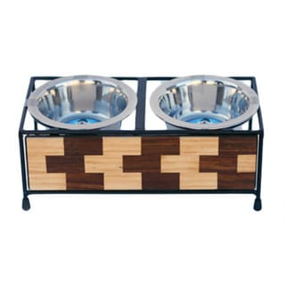 Indipets Luxe Craft Brick Design Elevated Dog Bowls
