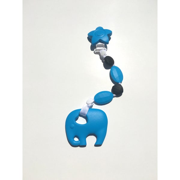 SillyMunk Blue Elephant Silicone Teething Clip