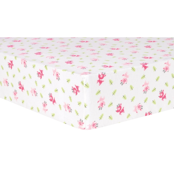 Trend Lab Pink Flannel Reindeer Deluxe Fitted Crib Sheet