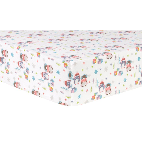 Trend Lab Winter Wishes Cotton Flannel Deluxe Fitted Crib Sheet