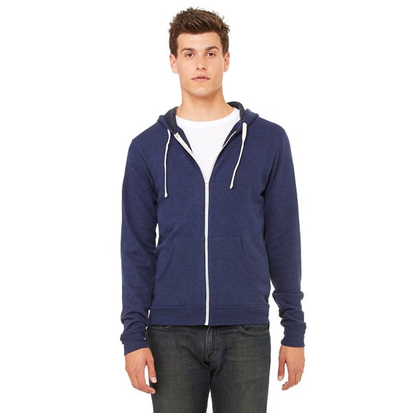 Unisex Triblend Sponge Fleece Full-Zip Navy Triblend Hoodie (XL)