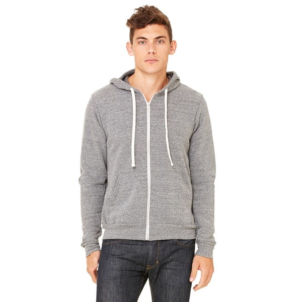 Unisex Triblend Sponge Fleece Full-Zip Grey Triblend Hoodie (XL)