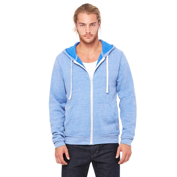 Unisex Triblend Sponge Fleece Full-Zip Blue Triblend Hoodie (XL)