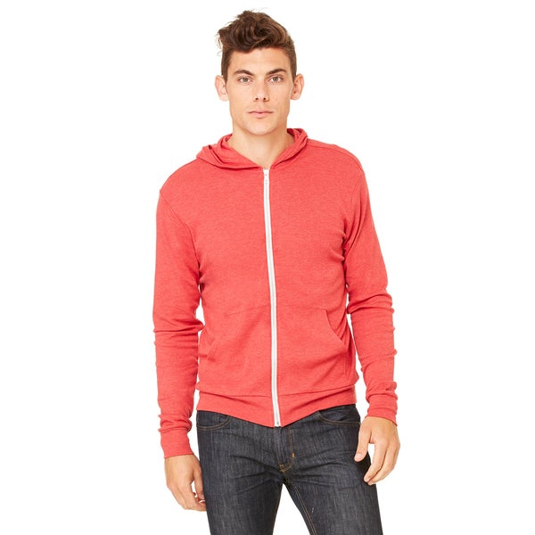 Unisex Triblend Lightweight Full-Zip Red Triblend Hoodie