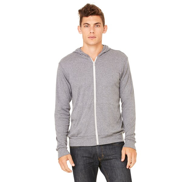 Unisex Triblend Lightweight Full-Zip Grey Triblend Hoodie
