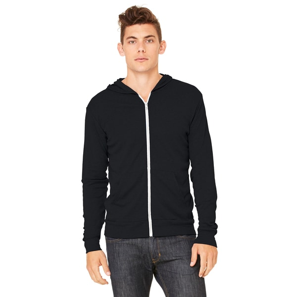 Unisex Triblend Lightweight Full-Zip Black Triblend Hoodie