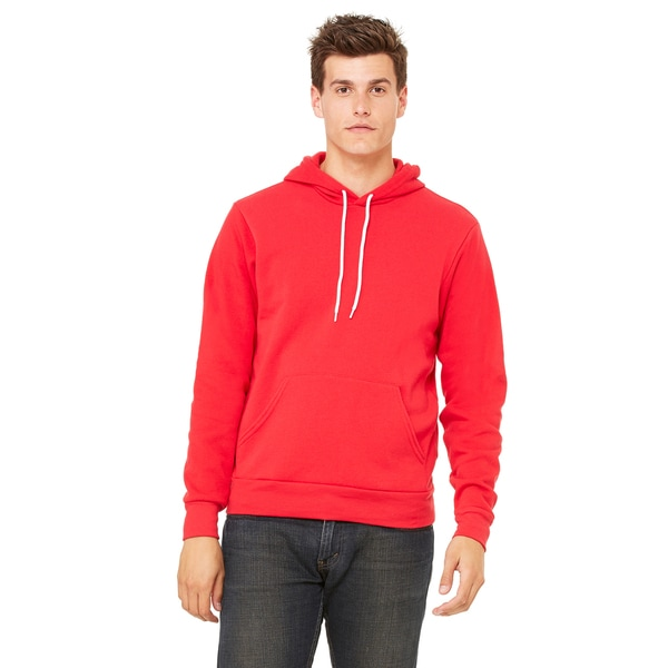 Unisex Red Poly-cotton Fleece Pullover Hoodie