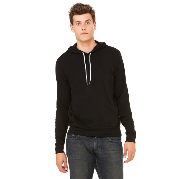 Unisex Black Cotton-blended Fleece Pullover Hoodie 20012540