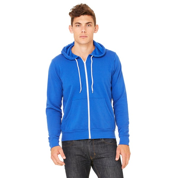 Unisex Polyester and Cotton Fleece Full-Zip Hoodie True Royal 20012557