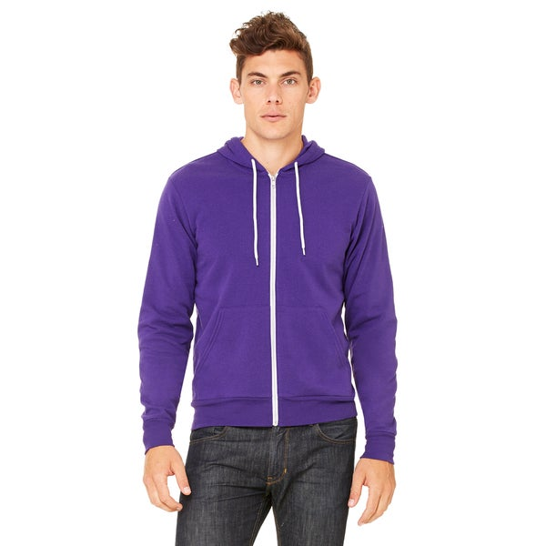 Unisex Purple Poly-Cotton Fleece Full-Zip Hoodie