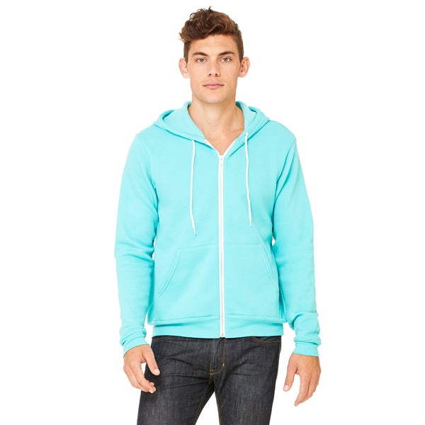 Unisex Teal Polycotton Fleece Full-zip Hoodie 20012567