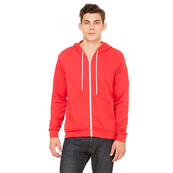 Unisex Red Cotton-blended Fleece Full-zip Hoodie