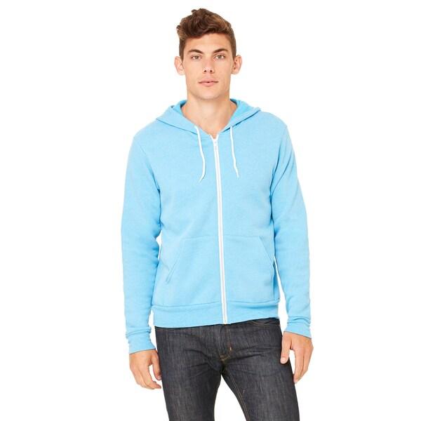 Unisex Neon Blue Poly-cotton Fleece Full-zip Hoodie