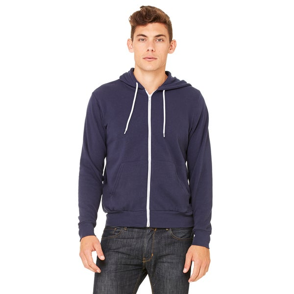 Unisex Navy Blue Poly-cotton Fleece Full-zip Hoodie