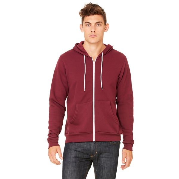 Unisex Maroon Cotton-blended Fleece Full-zip Hoodie