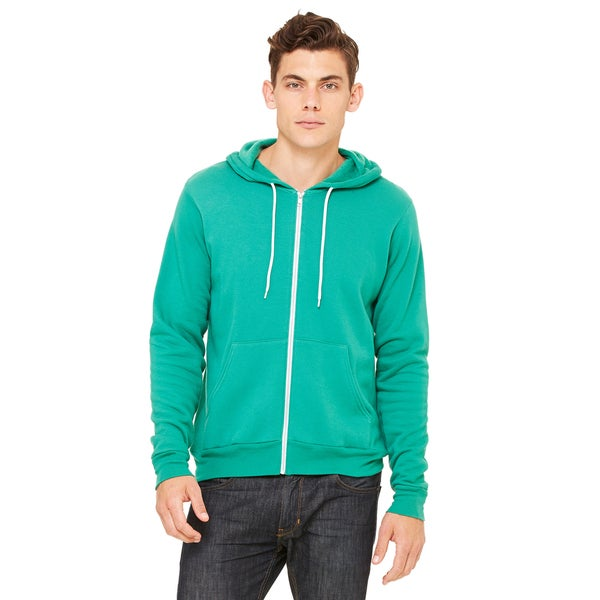 Unisex Kelly Green Poly-Cotton Fleece Full-zip Hoodie