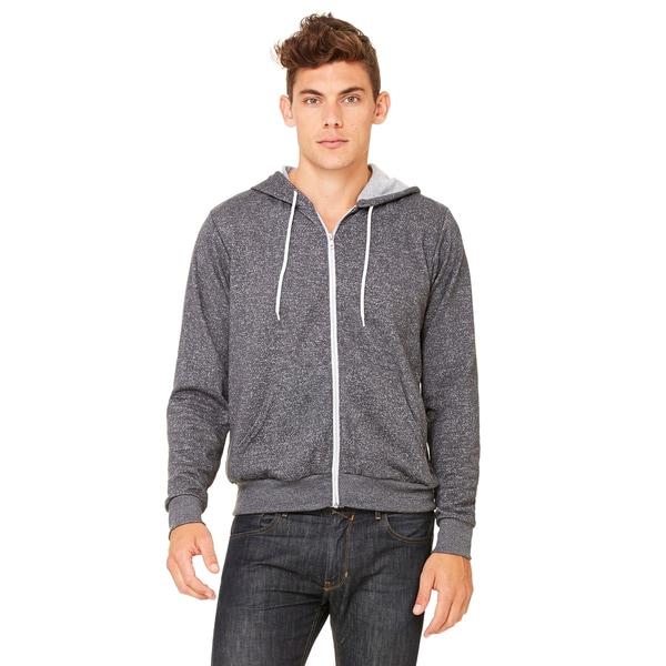 Unisex Digital Grey Poly-Cotton Fleece Full-zip Hoodie