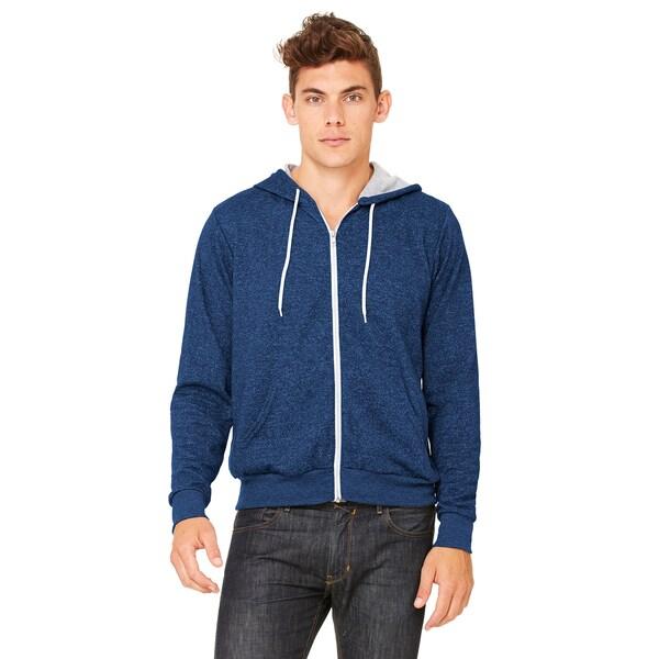 Unisex Digital Blue Poly-cotton Fleece Full-zip Hoodie