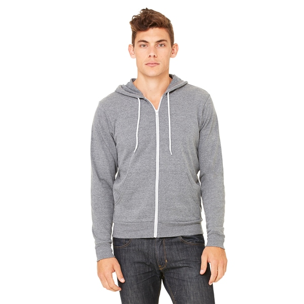 Unisex Deep Heather Grey Poly-cotton Fleece Full-zip Hoodie