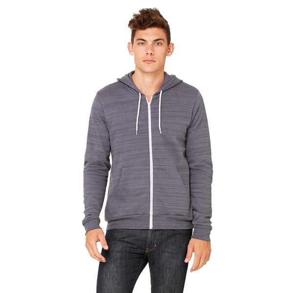 Unisex Dark Grey Marble Poly-cotton Fleece Full-zip Hoodie