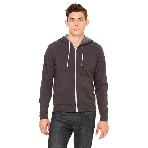 Unisex Dark Grey Heather Poly-Cotton Fleece Full-Zip Hoodie