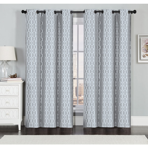 Miller Textured Geometric Jacquard Grommet Top Curtain Panel