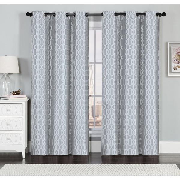 Miller Textured Geometric Jacquard Grommet Top Curtain Panel