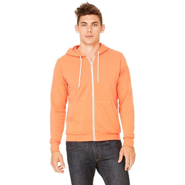 Unisex Coral Poly-Cotton Fleece Full-zip Hoodie 20012749
