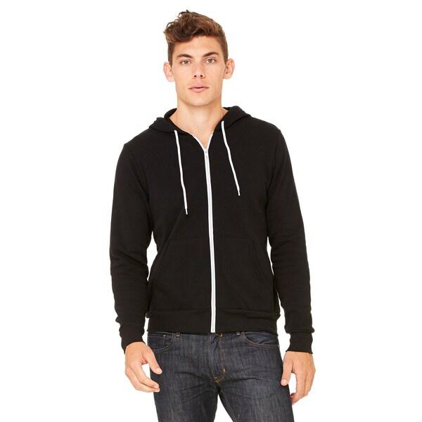Black Poly-cotton Fleece Full-zip Unisex Hoodie