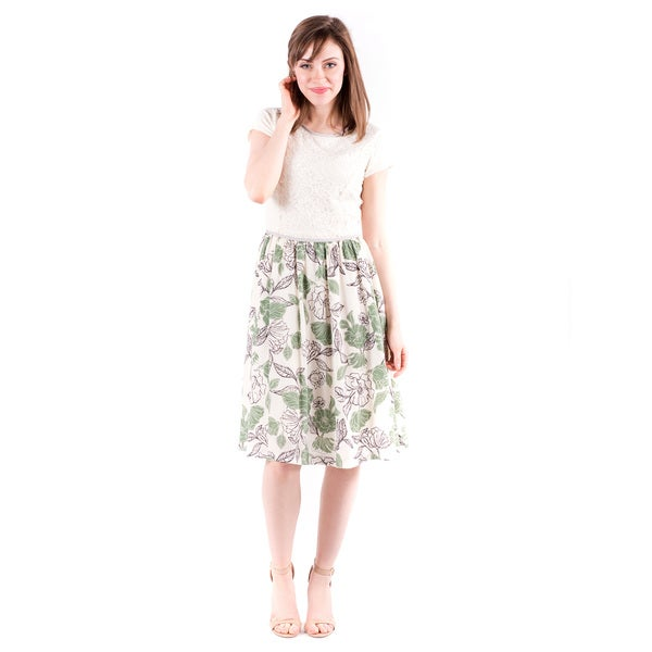 DownEast Basics Women's Lace Bodice Floral Skirt Dress