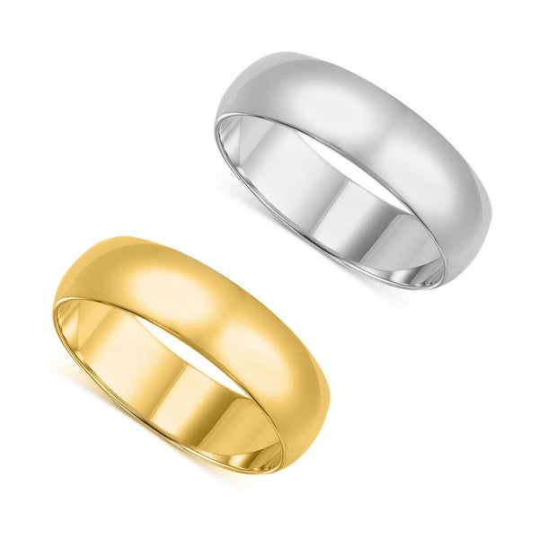 14k Yellow or White Gold 7-millimeter Standard Fit Men and Women's Wedding Band