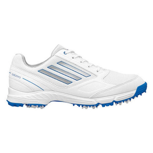 Adidas Junior's Adizero Sport White/ Silver/ Bahia Blue Golf Shoes