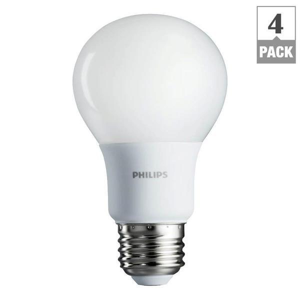 Philips 461129 60-watt Soft White A19 LED Light Bulbs (Pack of 4)