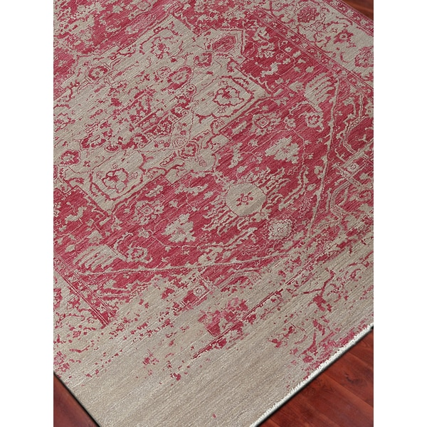 Hand-Knotted Grace Merino Pink Wool and Silk Area Rug (2'x3')