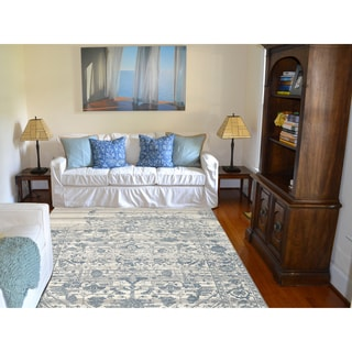 Hand-Knotted Grace Ivory/ Blue Wool and Silk Area Rug (9'x12')