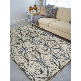 Hand-Knotted Grace Ivory Wool and Silk Area Rug (9'x12')