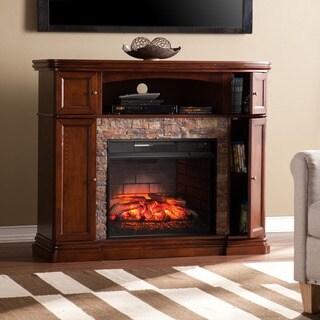 Harper Blvd Davenport Espresso Faux Stone Infrared Electric Media Fireplace